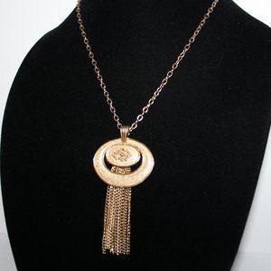 Vintage gold chain tassel necklace.